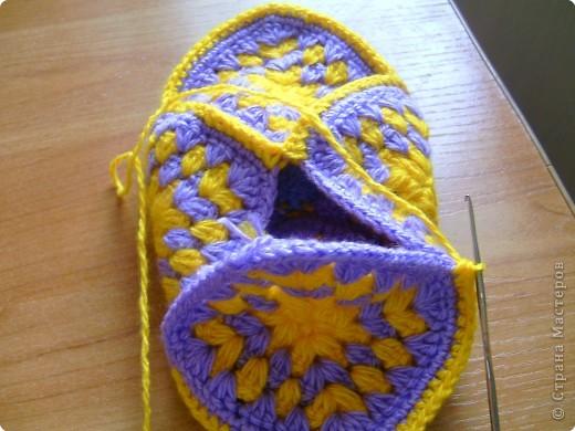 Мастер-класс,  Вязание крючком, : МК тапочки домашние  Нитки . Фото 15