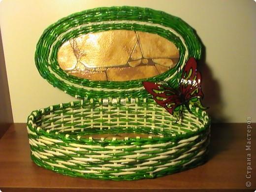 Поделка, изделие,  Плетение, : ШКАТУЛКА  спецпосола атлантическая. Бумага журнальная . Фото 1