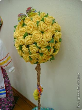 Украшение интерьера: Дерево из роз и маленький МК Салфетки. Фото 15