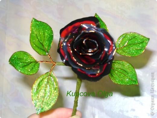 Мастер-класс, Поделка, изделие Витраж: Розочки из витражных красок+ МК по листикам Краска, Проволока. Фото 2