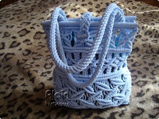 Гардероб Макраме: Голубая сумочка Нитки