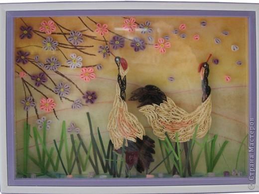 Картина Квиллинг: японские журавлики Полосы бумажные. Фото 1