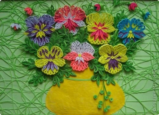 Квиллинг: Анютины глазки. Полосы бумажные День матери, День рождения, День учителя. Фото 1