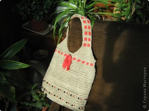 Вязание крючком: сумка по МК Голубки Нитки.  Фото 2.