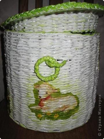 Мастер-класс Плетение: плетеная корзина +МК крышки с бортиком Бумага газетная. Фото 1