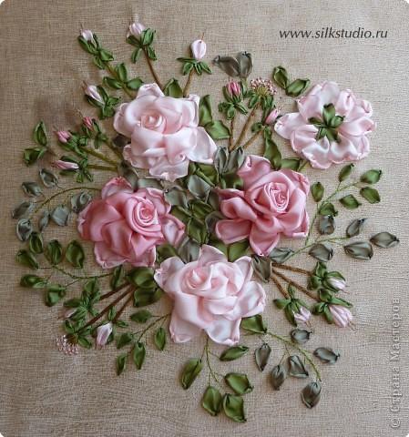 """Картина, панно Вышивка: Панно """" Розовый рассвет"""" Ленты. Фото 3"""