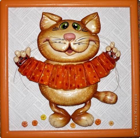 Картина, панно Лепка: Ещё коты и кошки.  Тесто соленое. Фото 2