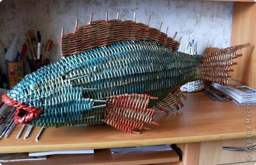 Украшение интерьера Плетение: Почти рыбка золотая!!! Бумага газетная Отдых. Фото 1