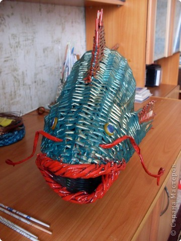 Украшение интерьера Плетение: Почти рыбка золотая!!! Бумага газетная Отдых. Фото 3