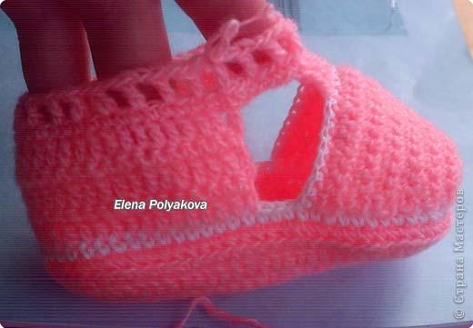 Гардероб, Мастер-класс Вязание крючком: Пинетки-туфельки с закрытым носочком. МК Пряжа День рождения. Фото 18
