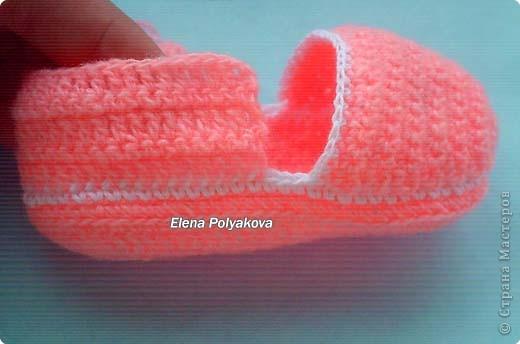 Гардероб, Мастер-класс Вязание крючком: Пинетки-туфельки с закрытым носочком. МК Пряжа День рождения. Фото 13
