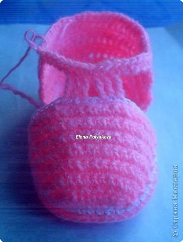 Гардероб, Мастер-класс Вязание крючком: Пинетки-туфельки с закрытым носочком. МК Пряжа День рождения. Фото 17