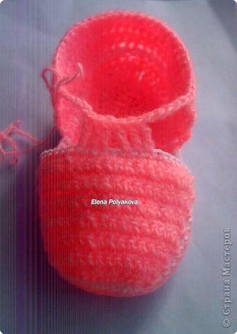 Гардероб, Мастер-класс Вязание крючком: Пинетки-туфельки с закрытым носочком. МК Пряжа День рождения. Фото 16