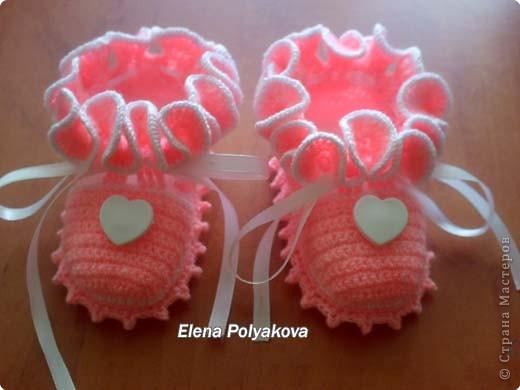 Гардероб, Мастер-класс Вязание крючком: Пинетки-туфельки с закрытым носочком. МК Пряжа День рождения. Фото 30
