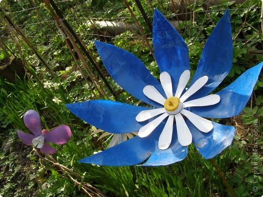 Поделка Вырезание: Садовые цветы из пластиковых бутылок Бутылки. Фото 2