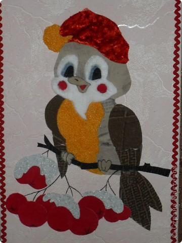 """Картина, панно Аппликация: Аппликация из ткани  """"Зимний день """" Ткань."""