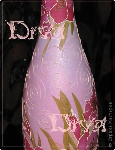 Декор предметов, Мастер-класс Декупаж: бутылка в подарок Краска, Нитки, Салфетки, Ткань Свадьба. Фото 5