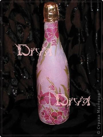 Декор предметов, Мастер-класс Декупаж: бутылка в подарок Краска, Нитки, Салфетки, Ткань Свадьба. Фото 6