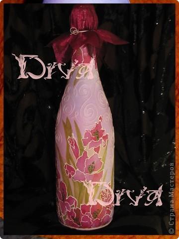 Декор предметов, Мастер-класс Декупаж: бутылка в подарок Краска, Нитки, Салфетки, Ткань Свадьба. Фото 7