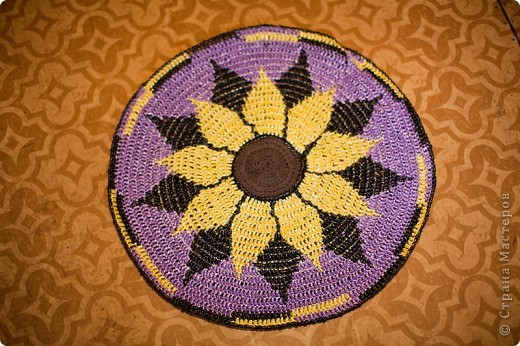 Поделка, изделие Вязание крючком: Коврик для бани Материал бросовый. Фото 4