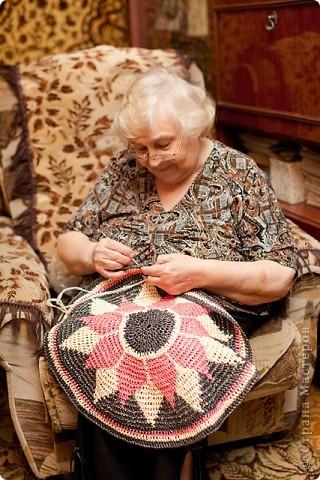 Поделка, изделие Вязание крючком: Коврик для бани Материал бросовый. Фото 5