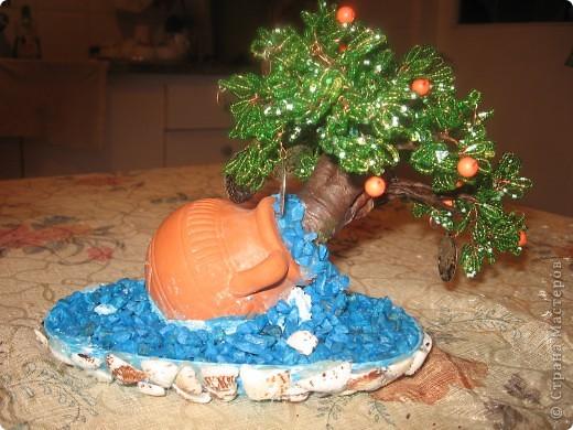 Бисероплетение: Деревья счастья Гипс.  Фото 3.
