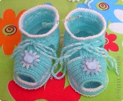 Гардероб Вязание крючком: Сандалики-пинетки с открытым носочком. С описанием вязания Пряжа День защиты детей