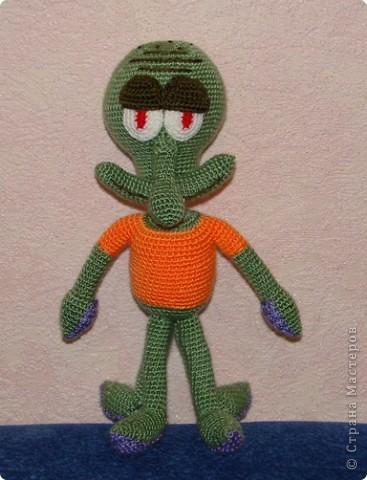 Игрушка Вязание крючком: Спанч Боб Пряжа Отдых.  Фото, салфетки.