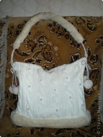 Вязание спицами: Вязаная сумка Нитки.  Фото 1.