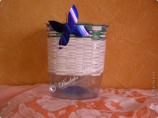 Мастер-класс,  Плетение, : Кашпо из пластиковых бутылок и полиэтиленовых пакетов Бутылки, Материал бросовый . Фото 12