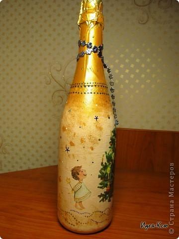 Декор предметов, Мастер-класс,  Декупаж, Роспись, : Бутылка в подарок на Новый Год Бутылки, Стекло Новый год, . Фото 9