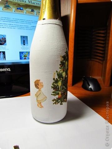 Декор предметов, Мастер-класс,  Декупаж, Роспись, : Бутылка в подарок на Новый Год Бутылки, Стекло Новый год, . Фото 6