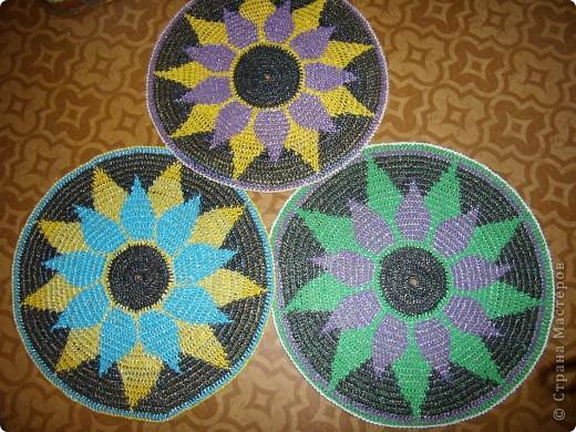 Поделка, изделие Вязание крючком: Опять коврики Материал бросовый. Фото 3