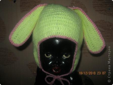 Гардероб Вязание крючком: Шапочка с ушками для девочки Нитки.  Фото 2.