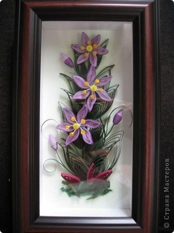 Картина, панно, рисунок Квиллинг: Фиолетовые цветы Бумага. Фото 3