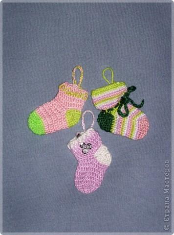 Интерьер Вязание крючком: Носочки на елку Пряжа Новый год.  Фото 3.