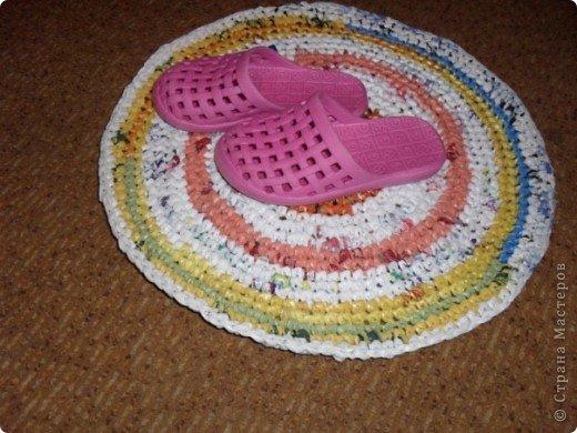 Интерьер Вязание крючком: коврик из пакетов Клеёнка.
