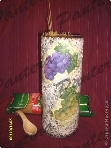Декор предметов, Мастер-класс,  Декупаж, : Макаронница (банка под спагетти) Картон, Клей, Краска, Салфетки . Фото 1