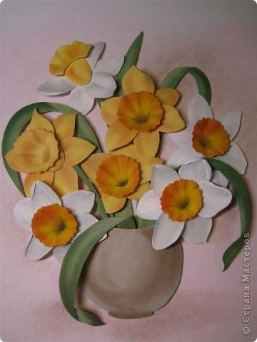 Картина, панно, рисунок Бумагопластика: Нарциссы  бумагопластика (самостоятельная работа) Бумага. Фото 6