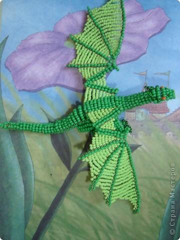 Игрушка, Поделка, изделие Бисероплетение: ДРАКОН. Бисер, Проволока. Фото 3