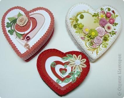 Декор предметов Квиллинг: шкатулки сердечки Картон, Ленты, Бумажные полосы Валентинов день. Фото 1