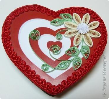 Декор предметов Квиллинг: шкатулки сердечки Картон, Ленты, Бумажные полосы Валентинов день. Фото 2