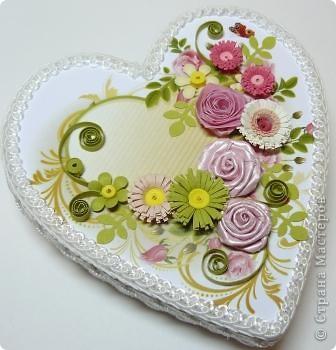 Декор предметов Квиллинг: шкатулки сердечки Картон, Ленты, Бумажные полосы Валентинов день. Фото 8