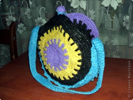 Вязание крючком: Сумка из полиэтилена.  Фото 4.