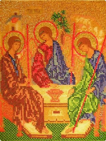 Вышивка бисером икона троица