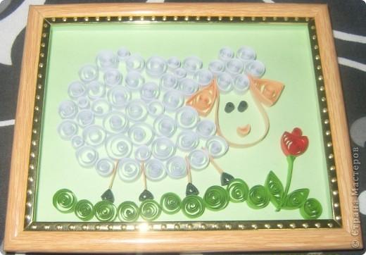 Картина, панно,  Квиллинг, : овечка Бумага