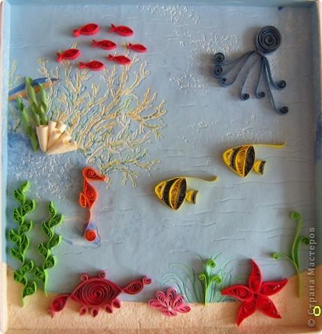 Картина, панно,  Квиллинг, : На дне морском Бумага