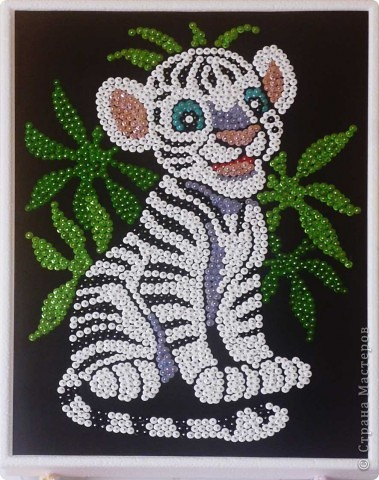 Картина панно рисунок аппликация тигренок из