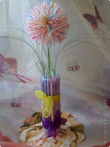 Цветы из трубочек для сока