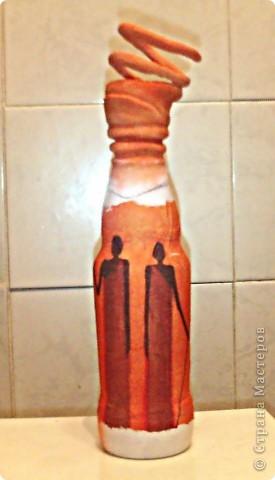 Мастер-класс,  Декупаж, : Экзотическая бутылка  Бутылки 23 февраля, . Фото 3